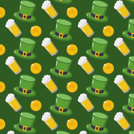 st patricks day hats beers coins background vector illustration