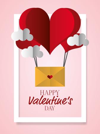 air balloon heart mail clouds happy valentines day vector illustration Ilustração