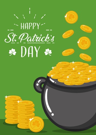 happy st patricks day boiler coins background vector illustration