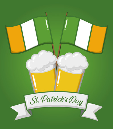 st patricks day beers ireland flags vector illustration Stock Vector - 125648074
