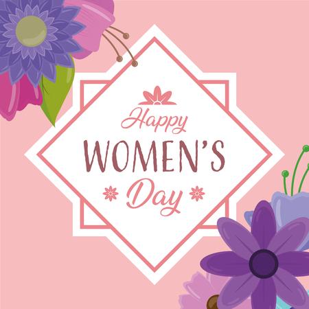 happy womens day sticker flowers decoration vector illustration