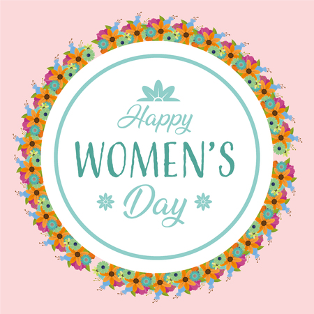 happy womens day celebration sticker decoration flowers vector illustration