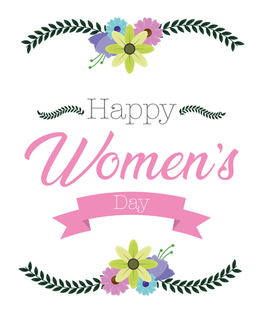 happy womens day ribbon decoration flowers celebrate vector illustration Illustration
