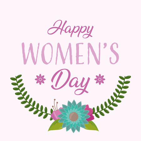celebrate flowers leaves decoration happy womens day vector illustration