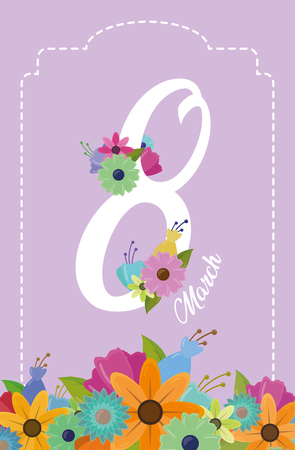 celebrate date frame flowers happy womens day vector illustration