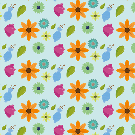 cute color flowers leaves decoration background vector illustration Ilustracja