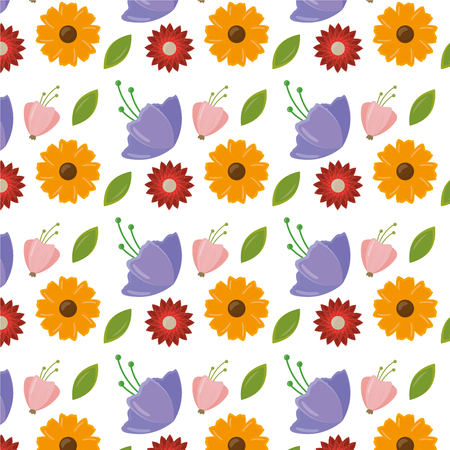 cute flowers leaves decoration background vector illustration Ilustracja