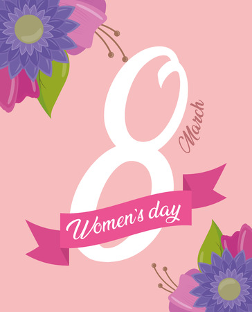 ribbon eight march happy womens day flowers background vector illustration