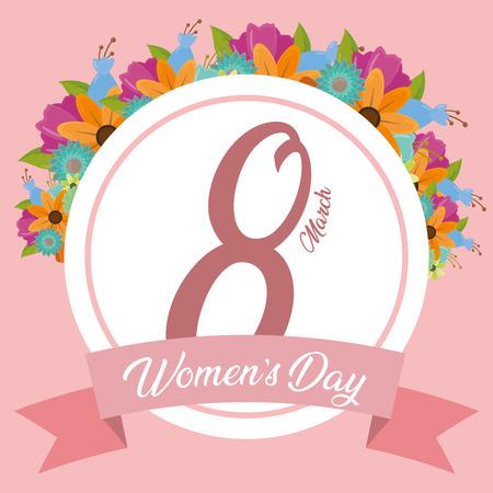 happy womens day sticker ribbon flowers background vector illustration Illusztráció