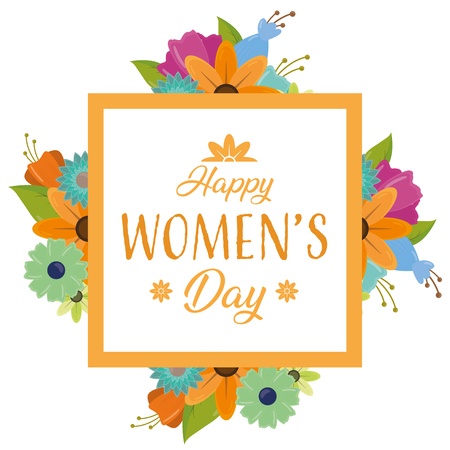 frame decoration happy womens day flowers background vector illustration