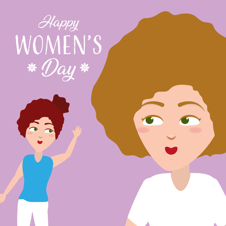 cute girls happy womens day background vector illustration