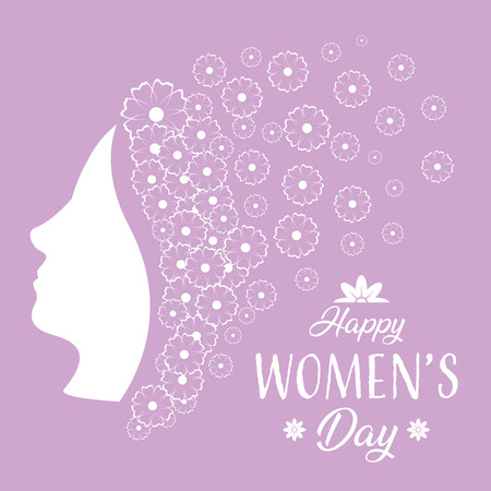 flowers woman decoration happy womens day vector illustration