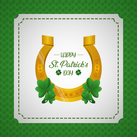 horseshoe clovers happy st patricks day vector illustration