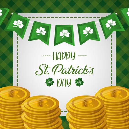 pile golden coins clovers happy st patricks day vector illustration