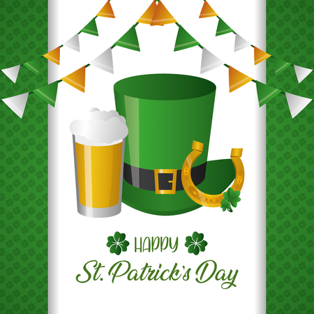 green hat horseshoe and beer happy st patricks day vector illustration Иллюстрация