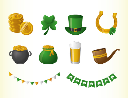 set of hat beer pot pipe coins happy st patricks day vector illustration Foto de archivo - 125593351