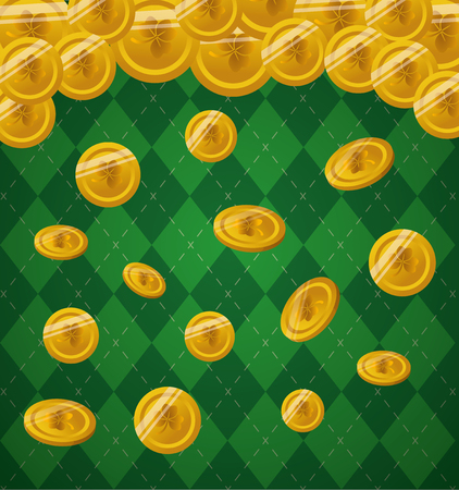 gold coins on background checkered happy st patricks day vector illustration