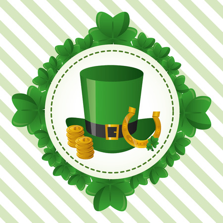 wreath clovers hat horseshoe coins happy st patricks day vector illustration Illustration