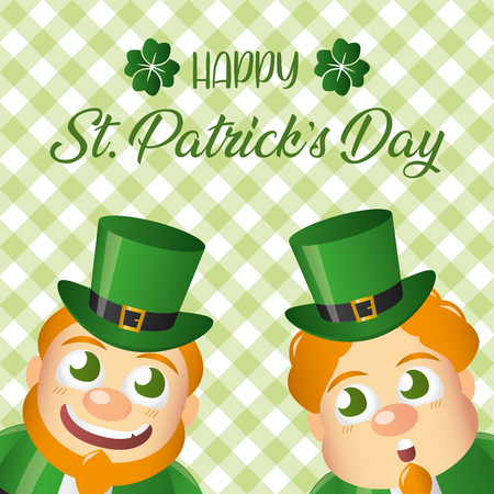 two leprechaun background checkered happy st patricks day vector illustration