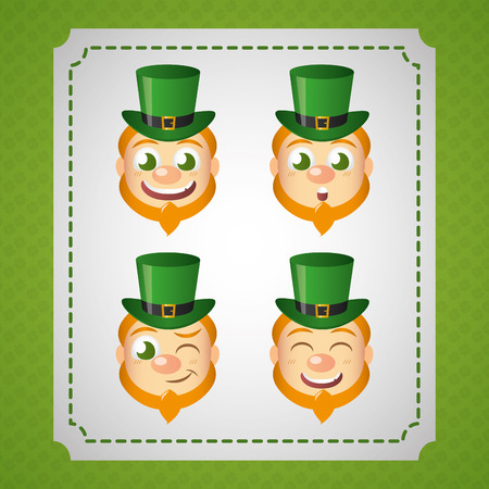 leprechaun faces expression happy st patricks day vector illustration