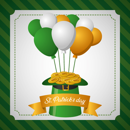 hat with coins and balloons happy st patricks day