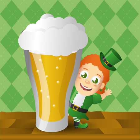leprechaun girl with big beer happy st patricks day vector illustration
