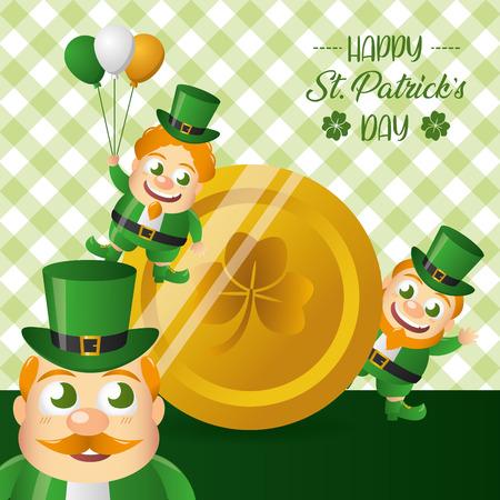 leprechauns gold coin happy st patricks day vector illustration