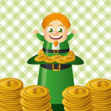 leprechaun sitiing coin with hat happy st patricks day vector illustration Ilustracja