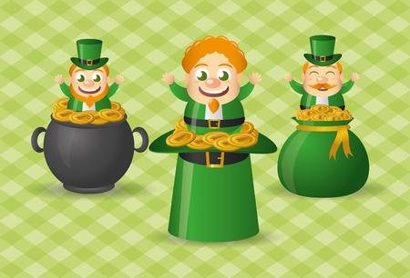 three leprechaun hat pot and bag coins st patricks day vector illustration