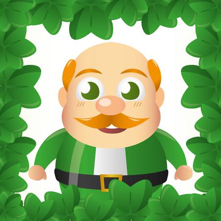 leprechaun clovers border happy st patricks day vector illustration