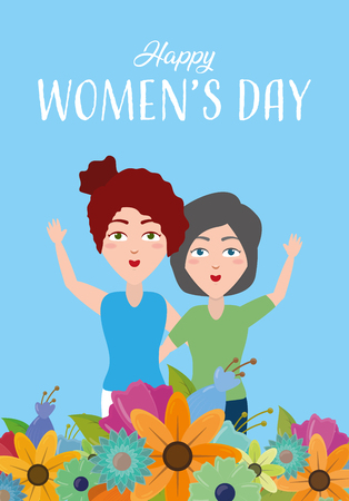 happy womens day decoration flowers background vector illustration