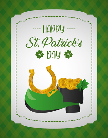shoe coins horseshoe happy st patricks day vector illustration