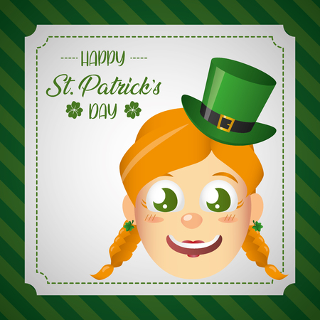 leprechaun girl face on white background vector illustration