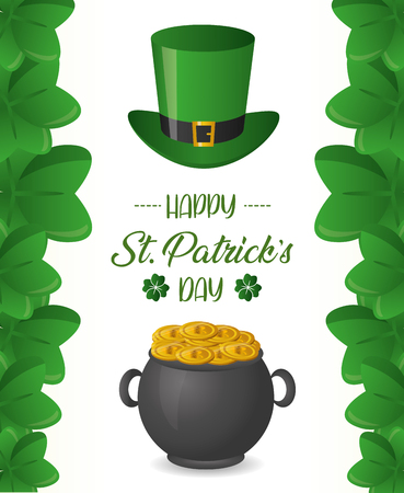 cauldron coins and hat happy st patricks day vector illustration
