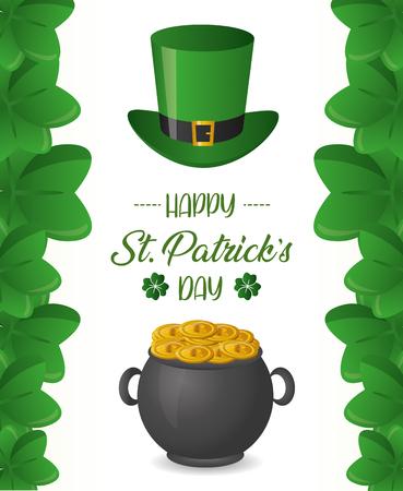 Kesselmünzen und Hut Happy St Patricks Day Vector Illustration Vektorgrafik