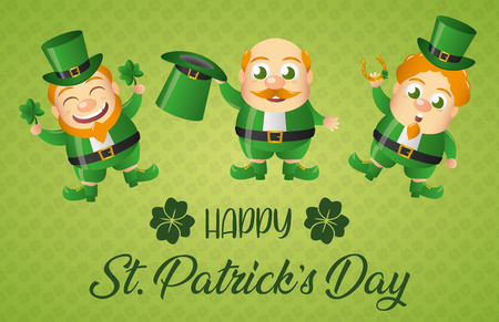 three leprechaun happy st patricks day vector illustration Stock Vector - 117115387