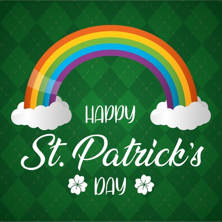 rainbow poster happy st patricks day vector illustration