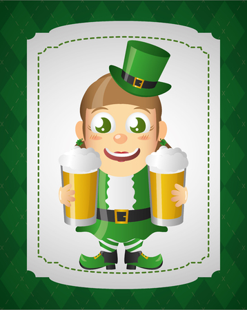 leprechaun girl with beers st patricks day vector illustration Ilustração