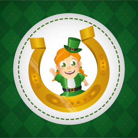 leprechaun girl with horseshoe happy st patricks day vector illustration
