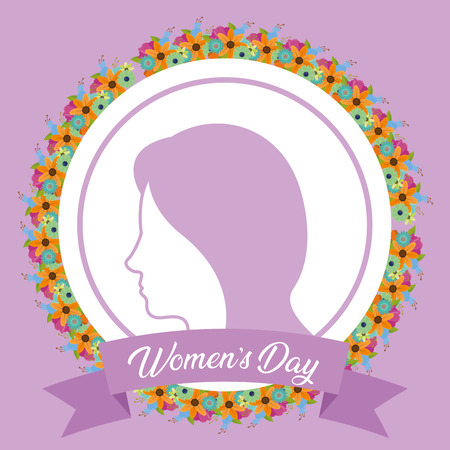 sticker woman ribbon flowers happy womens day vector illustration