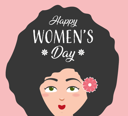 cute woman with flower happy womens day vector illustration Ilustração