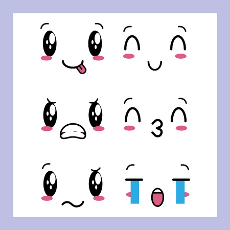 expressions emotions  faces background vector illustration