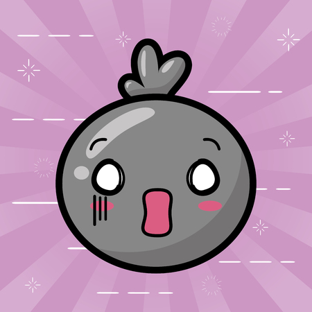 kawaii face bubble cartoon background vector illustration