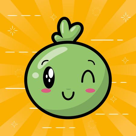 kawaii face bubble cartoon on yellow background vector illustration