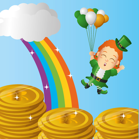leprechaun girl with balloons and coins happy st patricks day vector illustration 일러스트