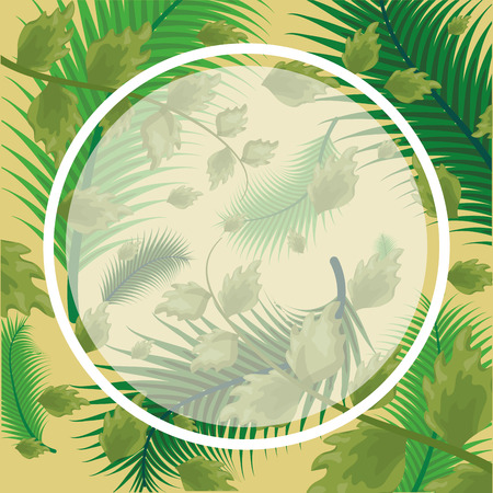 foliage sticker nature leaves background vector illustration
