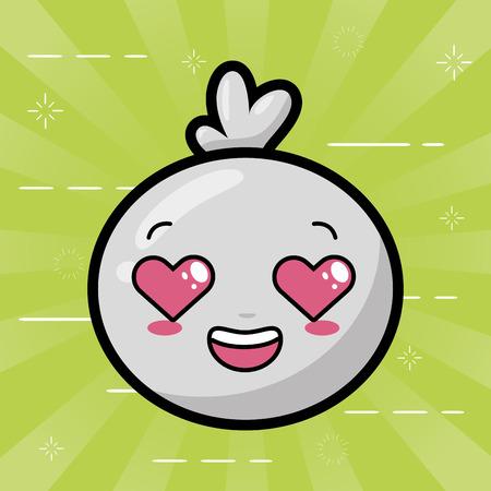 kawaii face bubble cartoon on green background vector illustration Ilustrace