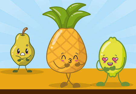 pineapple pear lemon character vector illustration