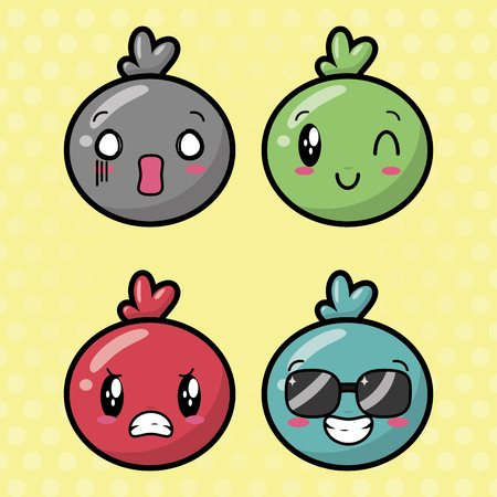emotions cute   faces background vector illustration 스톡 콘텐츠 - 117115573