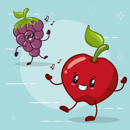 kawaii cartoon apple and grapes fruits vector illustration